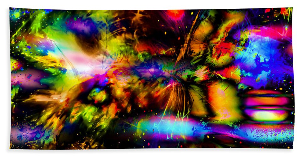 World's Hand Towel featuring the digital art Nebula Collision Course by Ron Fleishman