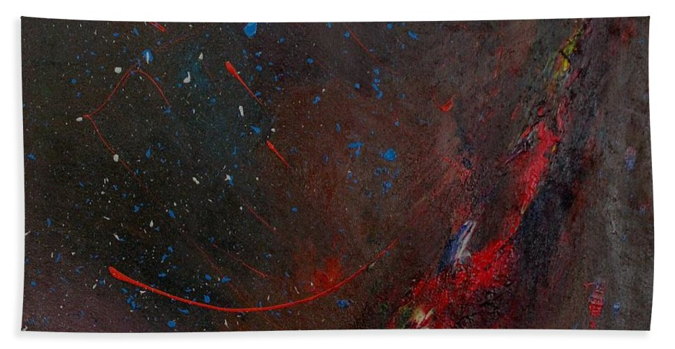 Universe Bath Towel featuring the painting Nebula by Michael Lucarelli
