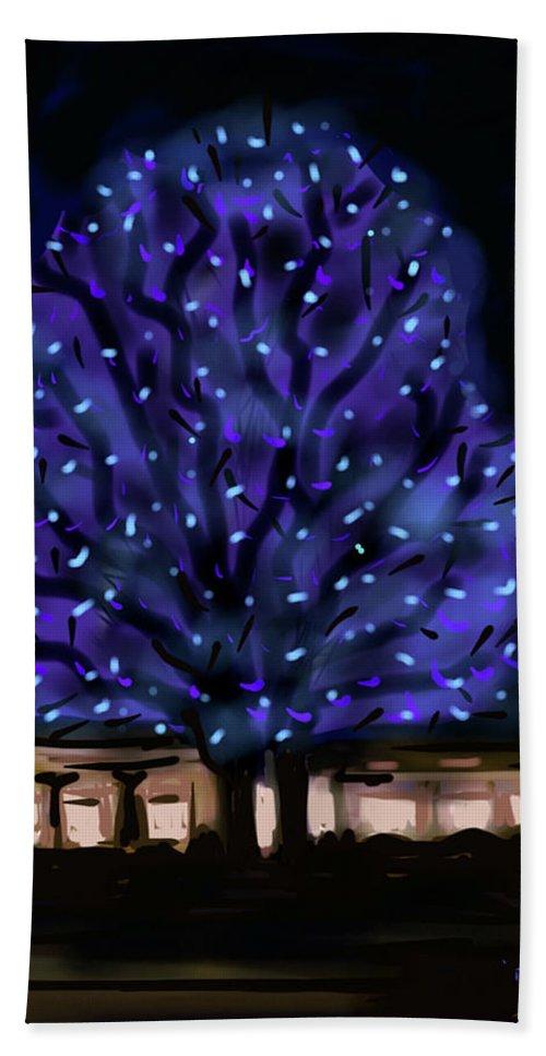 Needham Hand Towel featuring the painting Needham's Blue Tree by Jean Pacheco Ravinski