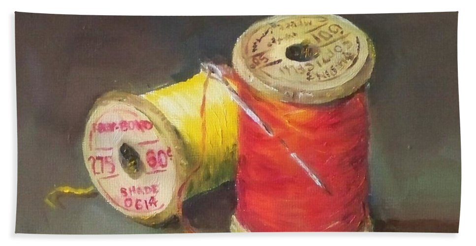 Needle Bath Sheet featuring the painting Needle And Thread No. 2 by Kristine Kainer