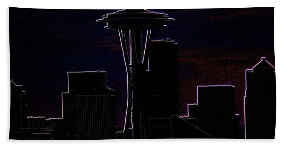 Seattle Hand Towel featuring the photograph Needle From Kerry Park 2 by Tim Allen
