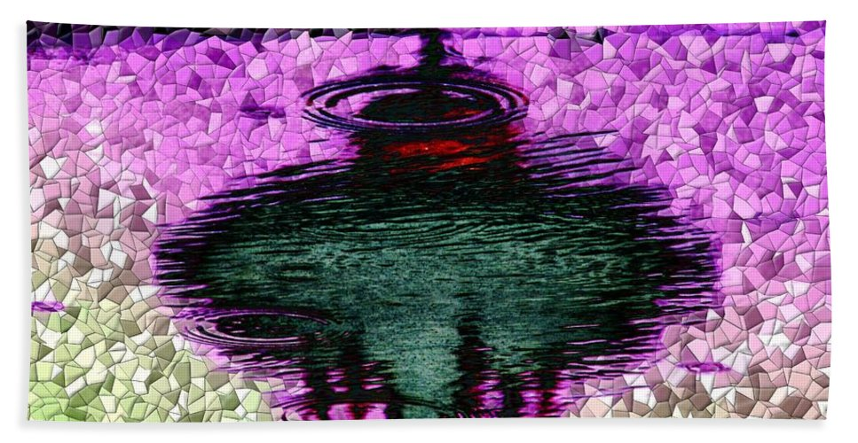 Seattle Bath Towel featuring the digital art Needle In A Raindrop Stack 3 by Tim Allen