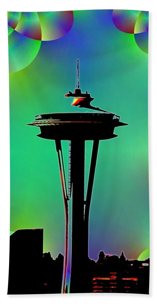 Seattle Bath Towel featuring the digital art Needle In Fractal 3 by Tim Allen