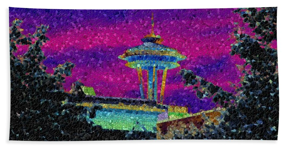 Seattle Hand Towel featuring the photograph Needle In Mosaic 2 by Tim Allen