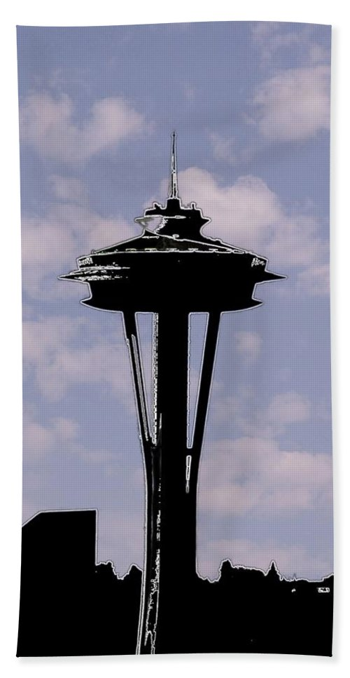 Seattle Bath Towel featuring the digital art Needle In The Clouds by Tim Allen