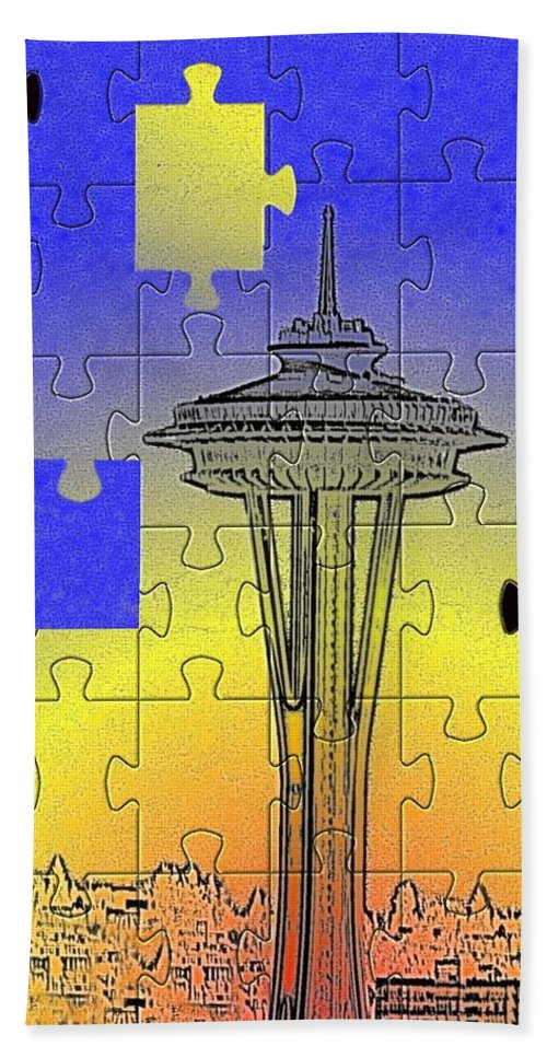 Seattle Hand Towel featuring the photograph Needle Jigsaw by Tim Allen