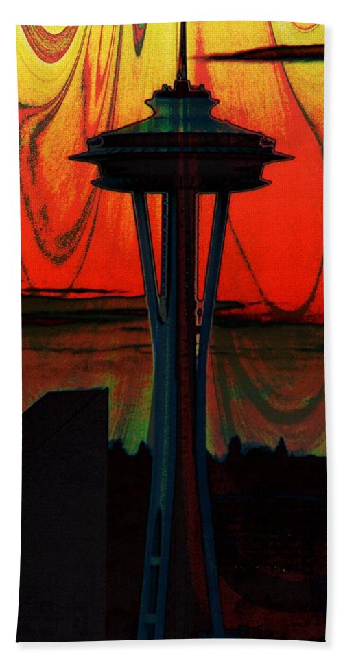 Seattle Hand Towel featuring the photograph Needle Silhouette 2 by Tim Allen