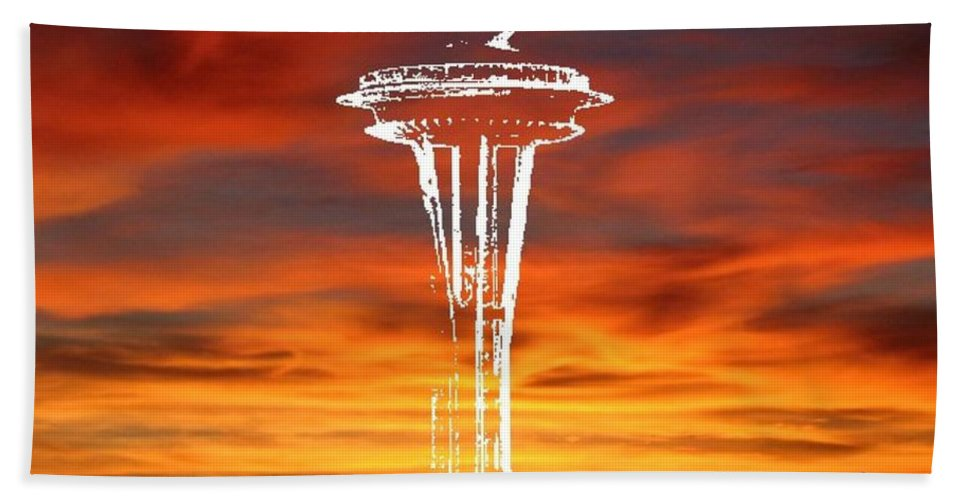 Seattle Hand Towel featuring the digital art Needle Silhouette by Tim Allen