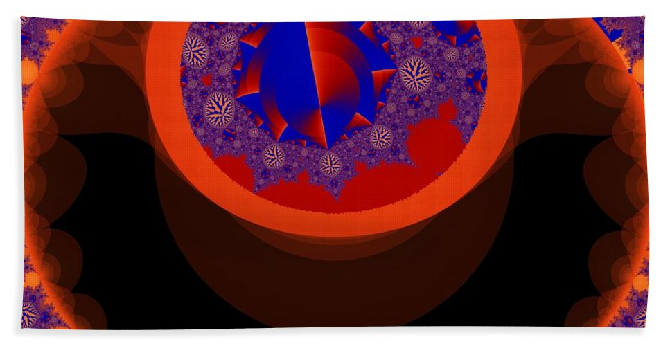 Fractal Image Bath Towel featuring the digital art Negated Symetry by Ron Bissett