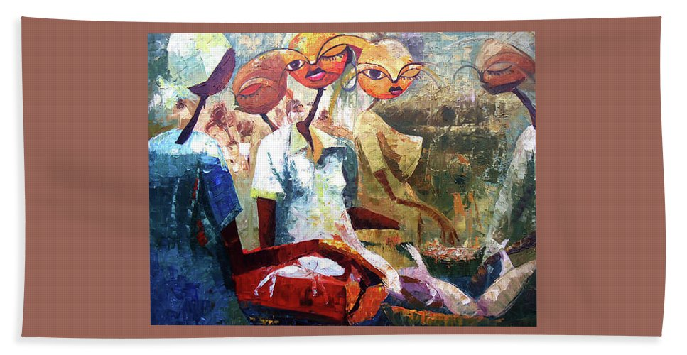 Figure Hand Towel featuring the painting Negotiation by Lawani Sunday