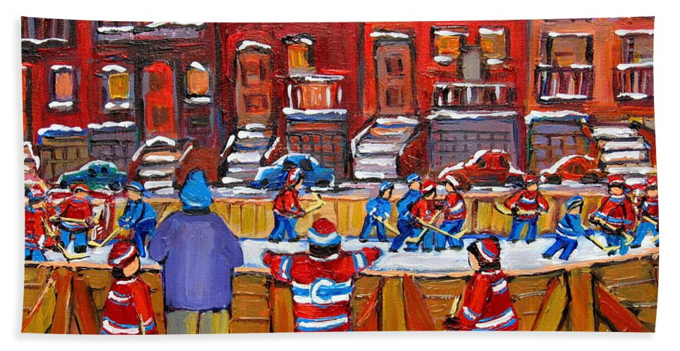 Hockeygame At The Neighborhood Rink Bath Towel featuring the painting Neighborhood Hockey Rink by Carole Spandau