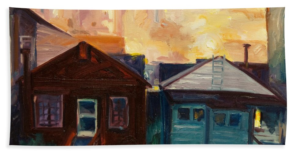 Cityscape Bath Towel featuring the painting Neighbors by Rick Nederlof