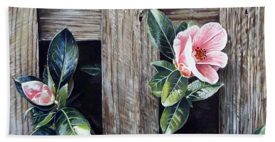 Flower Pink Acrylics Neighbours Fence Wood Leaves Bath Towel featuring the painting Neighbours by Arie Van der Wijst