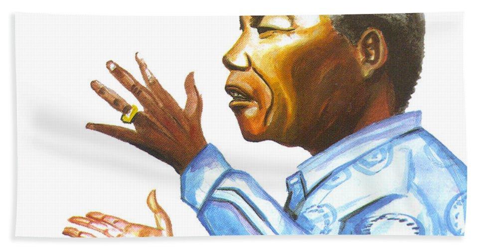 Portraits Bath Sheet featuring the painting Nelson Mandela by Emmanuel Baliyanga