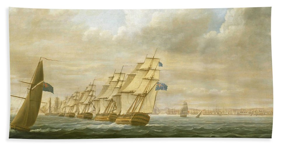 Thomas Buttersworth Bath Sheet featuring the painting Nelson's Inshore Blockading Squadron At Cadiz, July 1797 by Thomas Buttersworth