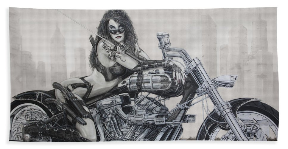 Bike Bath Towel featuring the drawing Nemesis by Kristopher VonKaufman