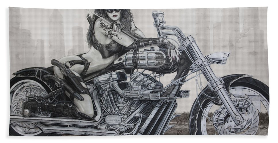 Bike Hand Towel featuring the drawing Nemesis by Kristopher VonKaufman