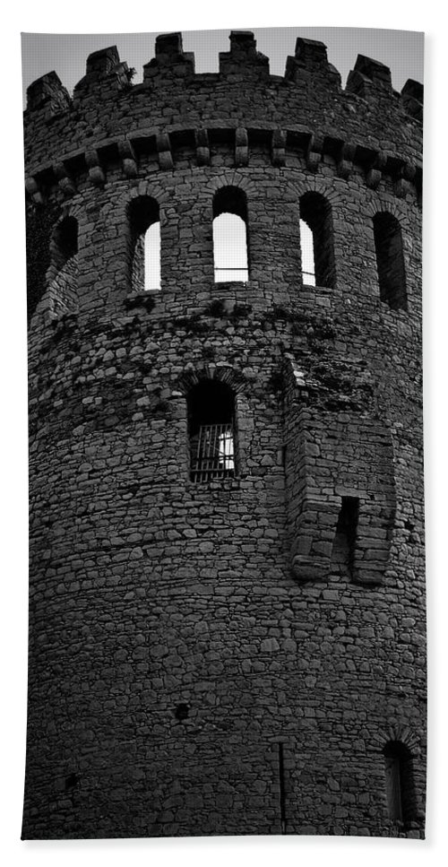 Nenagh Bath Sheet featuring the photograph Nenagh Castle Tower Bw by Teresa Mucha