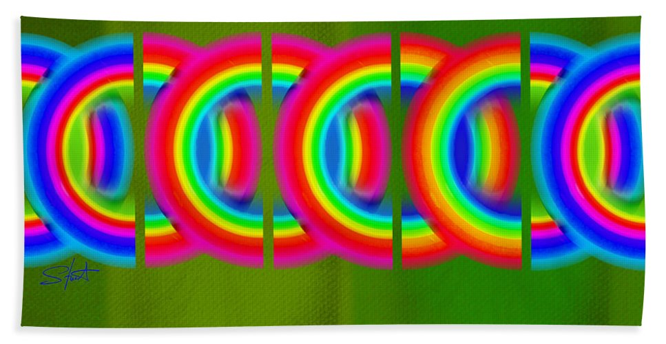 Abstract Hand Towel featuring the painting Neon Chain by Charles Stuart