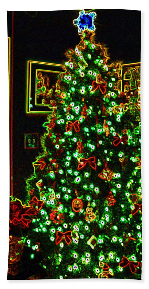 Christmas Bath Towel featuring the photograph Neon Christmas Tree by Nancy Mueller