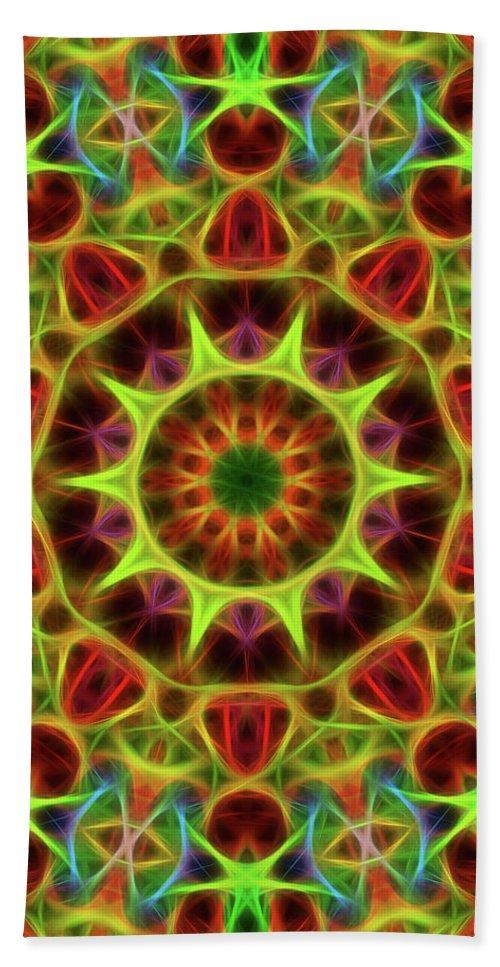 Mandala Art Hand Towel featuring the painting Neon by Jeelan Clark