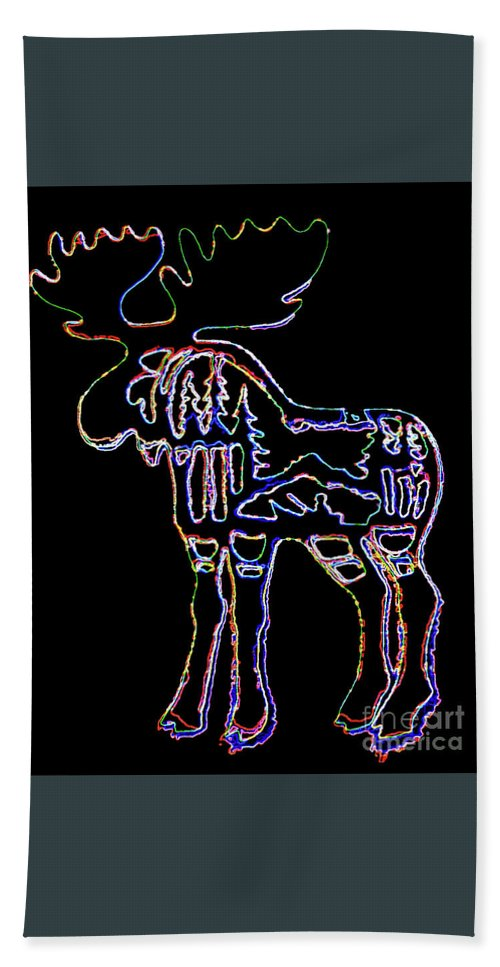 Neon Moose Hand Towel featuring the photograph Neon Moose by Larry Campbell