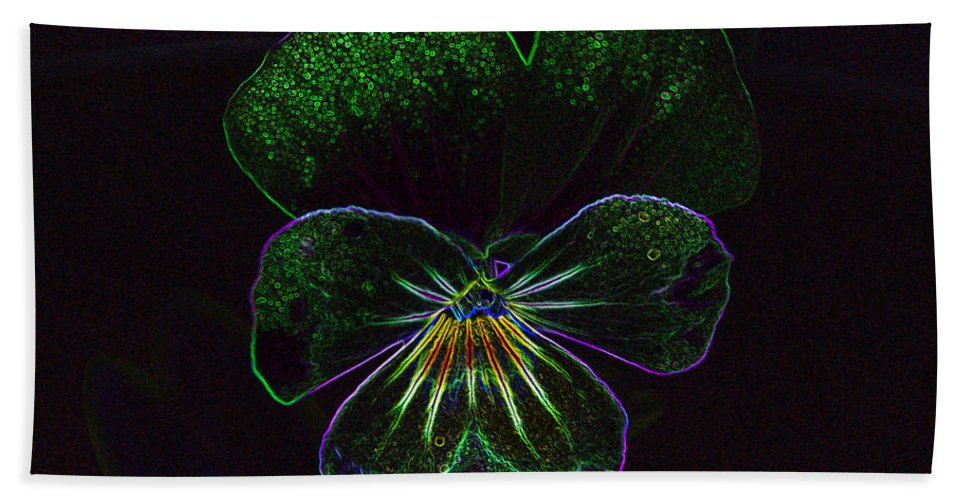 Neon Pansy Bath Sheet featuring the photograph Neon Pansy by Jeanette C Landstrom