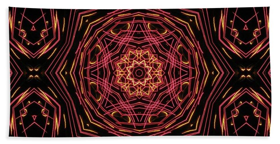 Kaleidoscope Hand Towel featuring the photograph Neon Pink Art Deco Star by M E Cieplinski