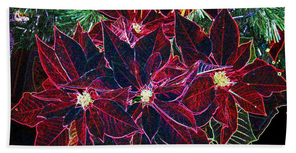 Flowers Bath Towel featuring the photograph Neon Poinsettias by Nancy Mueller