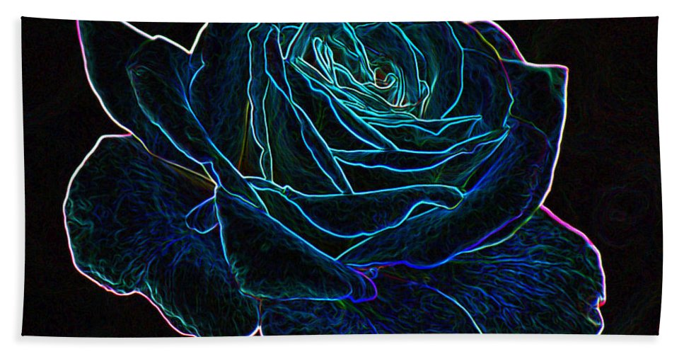 Flowers Hand Towel featuring the mixed media Neon Rose 3 by Ernie Echols
