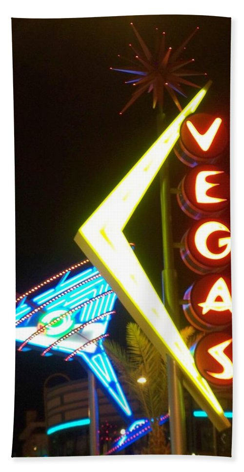 Fremont East Bath Towel featuring the photograph Neon Signs 3 by Anita Burgermeister