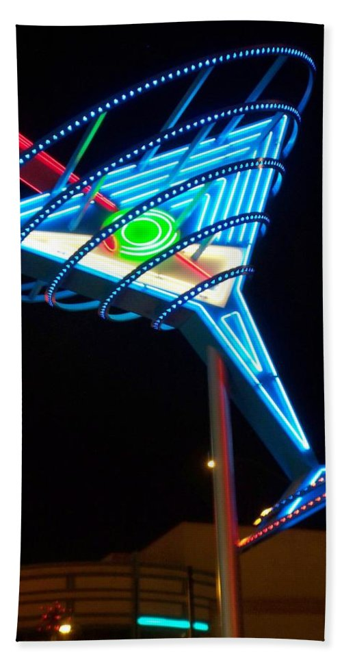 Fremont East Bath Towel featuring the photograph Neon Signs 4 by Anita Burgermeister