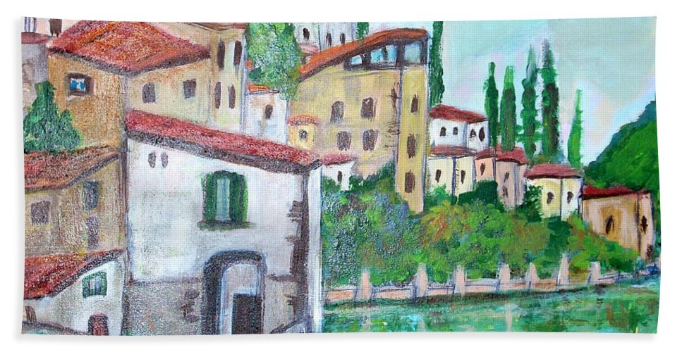Nesso Hand Towel featuring the painting Nesso Village In Lake Como by Teresa Dominici