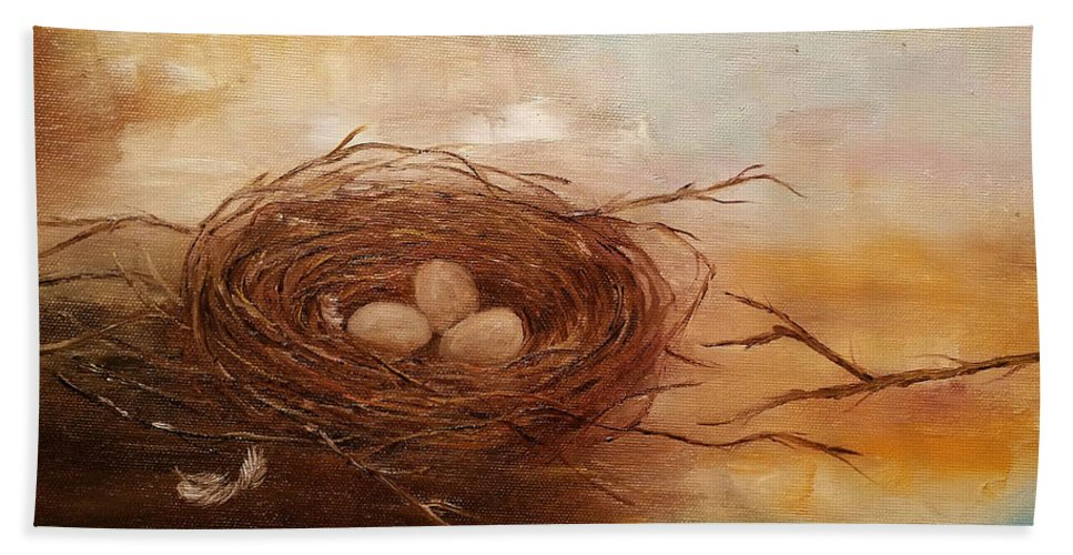 Nest Hand Towel featuring the painting Nest by Snezana Bozic