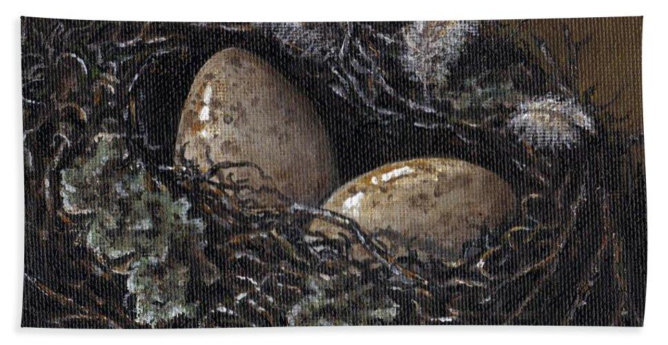 Acrylic Hand Towel featuring the painting Nesting by Adam Zebediah Joseph