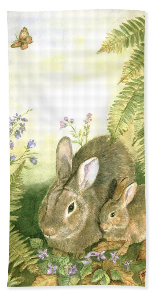 Bunnies Hand Towel featuring the painting Nesting Bunnies by Patricia Pushaw