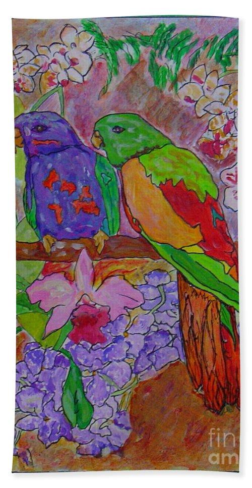 Tropical Pair Birds Parrots Original Illustration Leilaatkinson Bath Sheet featuring the painting Nesting by Leila Atkinson