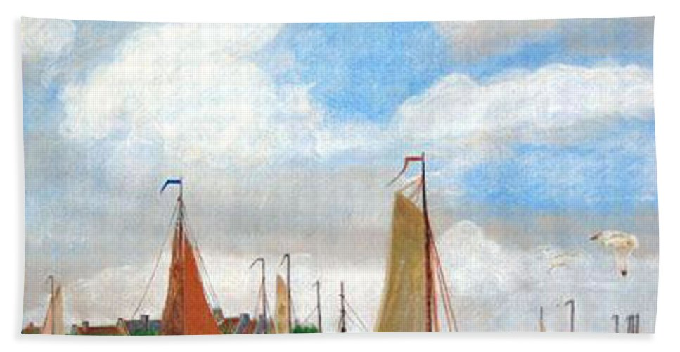 Netherlands Bath Towel featuring the painting Netherland's Harbour by Richard Le Page