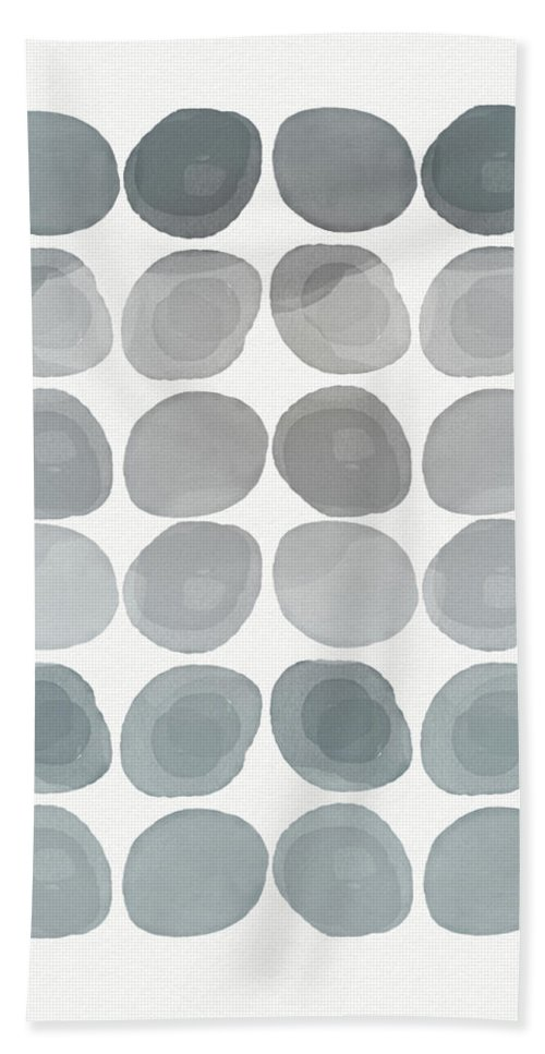 Modern Hand Towel featuring the mixed media Neutral Stones- Art By Linda Woods by Linda Woods