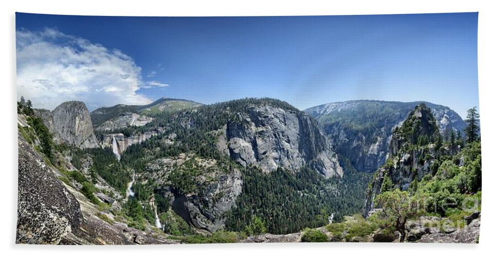 Sierra Bath Sheet featuring the photograph Nevada And Vernal Falls From Near Grizzly Peak - Yosemite Valley by Bruce Lemons