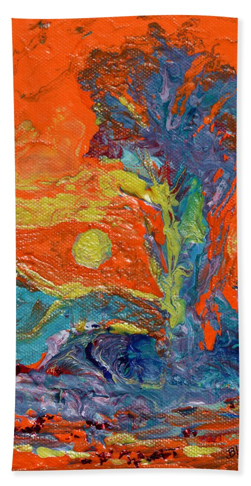 Desert Bath Towel featuring the painting Nevada Heat by Donna Blackhall