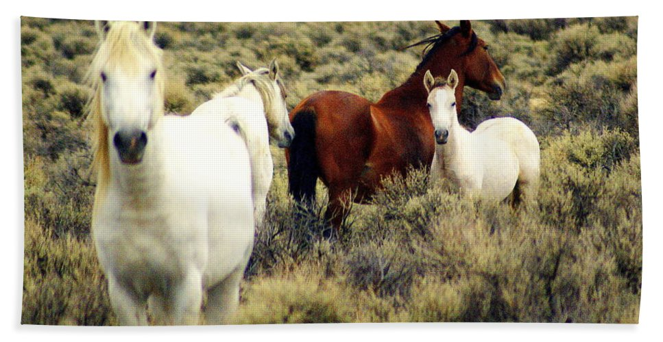 Horses Hand Towel featuring the photograph Nevada Wild Horses by Marty Koch