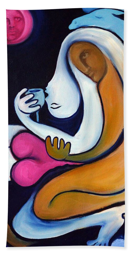 Abstract Hand Towel featuring the painting Never Tear Us Apart by Valerie Vescovi