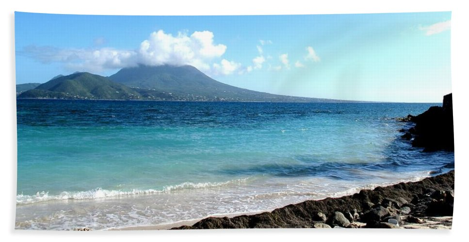 Nevis Hand Towel featuring the photograph Nevis Across The Channel by Ian MacDonald