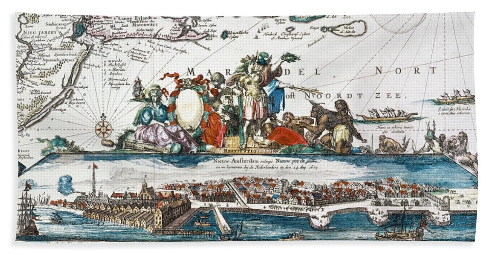 1673 Hand Towel featuring the photograph New Amsterdam, 1673 by Granger