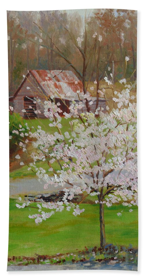 Landscape Bath Sheet featuring the painting New Blossoms Old Barn by Keith Burgess