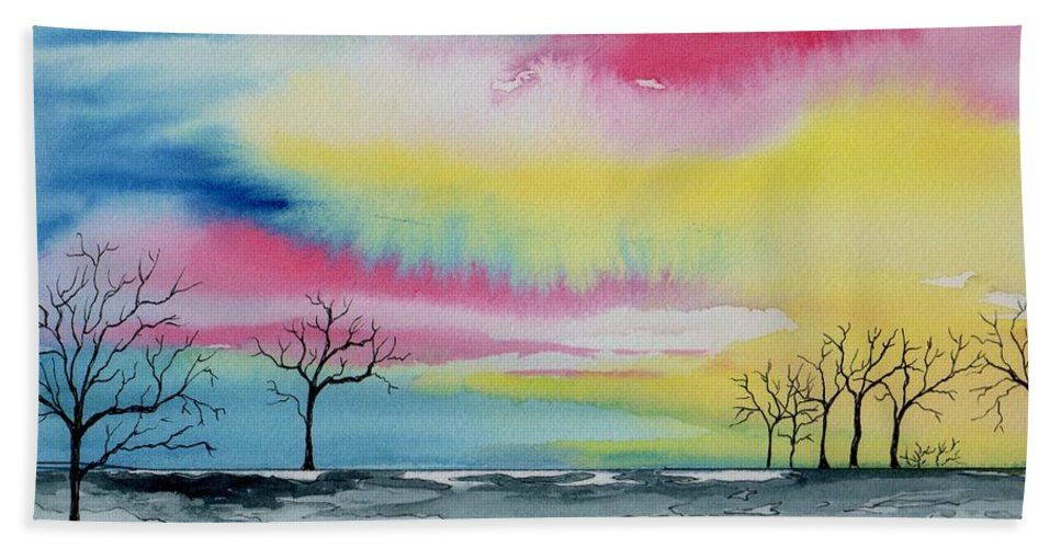 Watercolor Hand Towel featuring the painting New Day Dawn by Brenda Owen