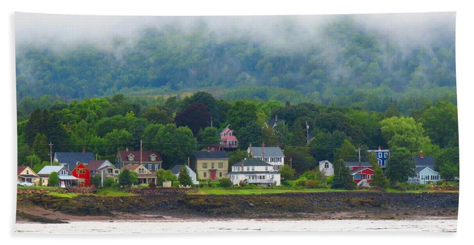 Hand Towel featuring the photograph Granville Ferry Nova Scotia Canada Fog Lifting by Martha Huard