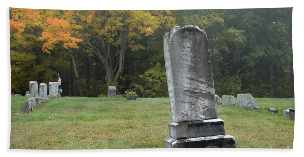 Graveyard Bath Towel featuring the photograph New England Graveyard During The Autumn by Erin Paul Donovan