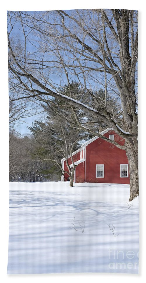 Winter Hand Towel featuring the photograph New England Red House Winter by Edward Fielding